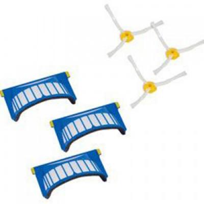 Комплект сменных элементов (три фильтра и три боковых щетки) для Roomba 500 и Roomba 600 серии. AeroVac